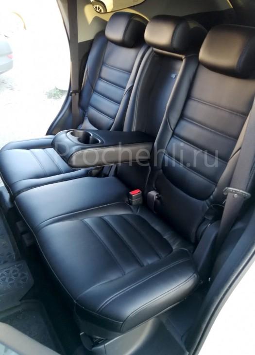 Чехлы на Mitsubishi Outlander 3 с эффектом перетяжки салона из черной экокожи №5