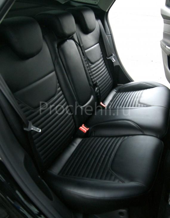 Каркасные авточехлы с эффектом перетяжки салона для Ford Focus 3 рестайлинг из черной экокожи №6