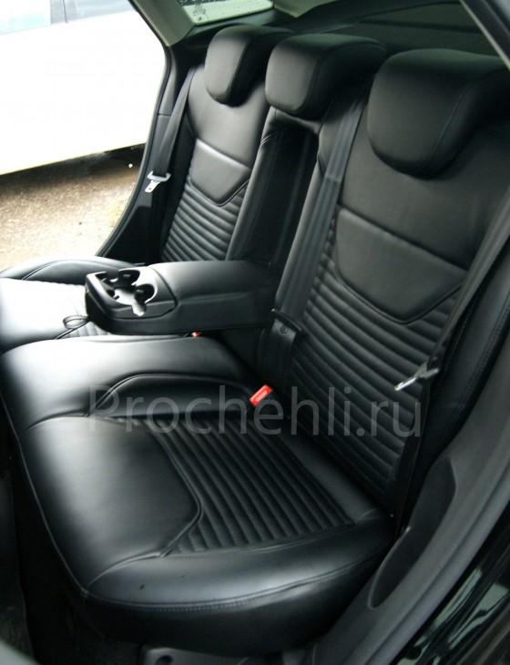 Каркасные авточехлы с эффектом перетяжки салона для Ford Focus 3 рестайлинг из черной экокожи №7