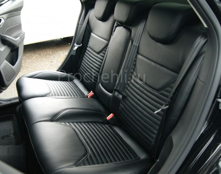 Каркасные авточехлы с эффектом перетяжки салона для Ford Focus 3 рестайлинг из черной экокожи №8