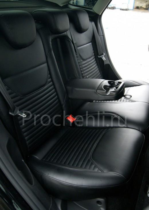 Каркасные авточехлы с эффектом перетяжки салона для Ford Focus 3 рестайлинг из черной экокожи №9