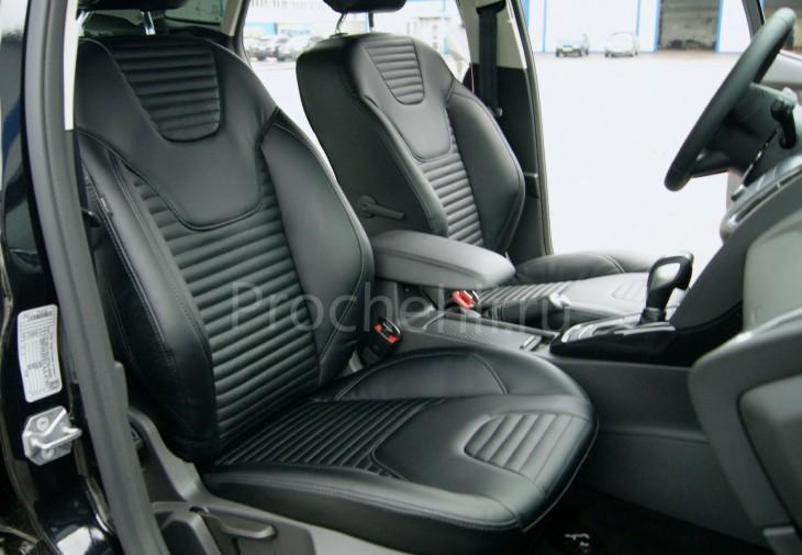 Каркасные авточехлы с эффектом перетяжки салона для Ford Focus 3 рестайлинг из черной экокожи №1