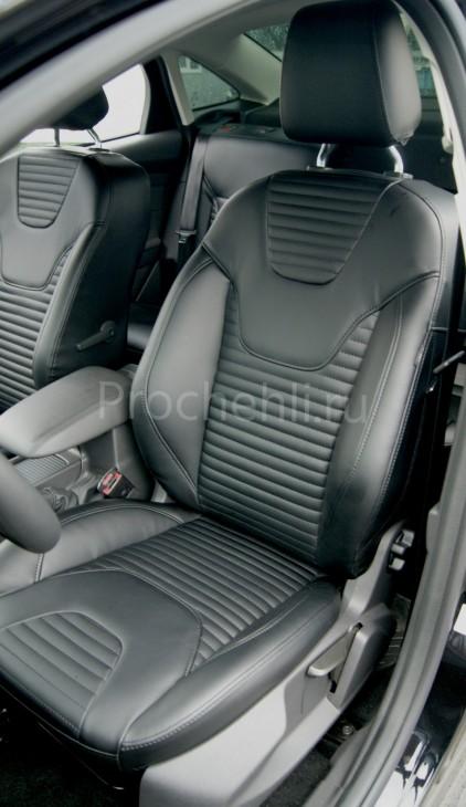 Каркасные авточехлы с эффектом перетяжки салона для Ford Focus 3 рестайлинг из черной экокожи №3
