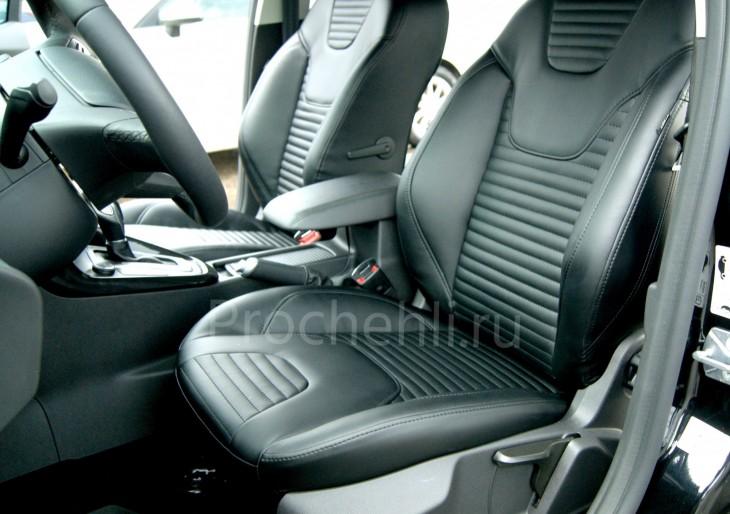 Каркасные авточехлы с эффектом перетяжки салона для Ford Focus 3 рестайлинг из черной экокожи №2