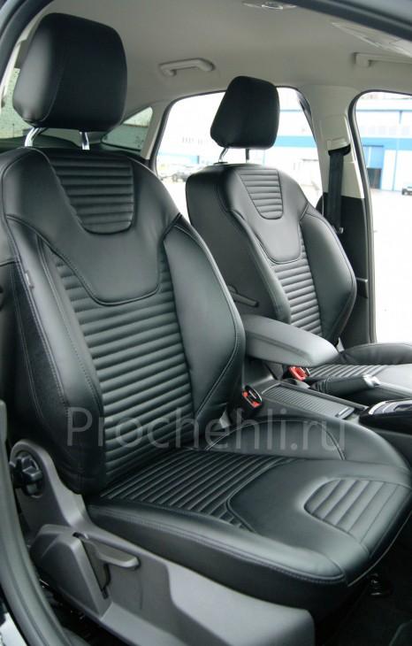 Каркасные авточехлы с эффектом перетяжки салона для Ford Focus 3 рестайлинг из черной экокожи №4