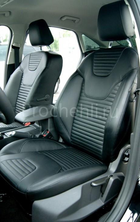 Каркасные авточехлы с эффектом перетяжки салона для Ford Focus 3 рестайлинг из черной экокожи №5
