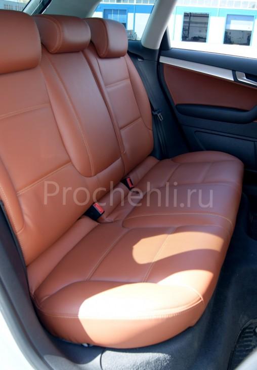 Чехлы на Audi A3 8P спорт салон с эффектом перетяжки салона из рыже-коричневой экокожи №4