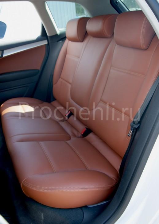 Чехлы на Audi A3 8P спорт салон с эффектом перетяжки салона из рыже-коричневой экокожи №7