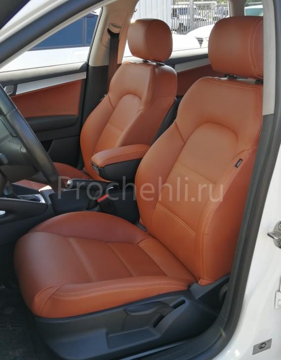 Чехлы на Audi A3 8P спорт салон с эффектом перетяжки салона из рыже-коричневой экокожи №5