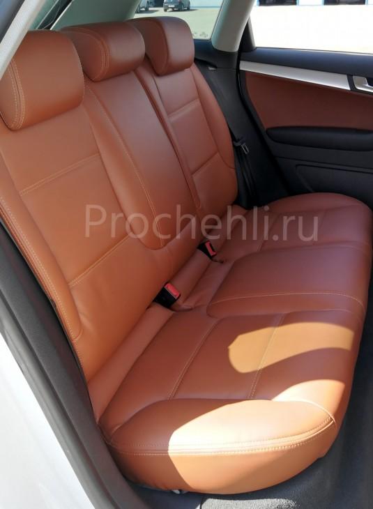 Чехлы на Audi A3 8P спорт салон с эффектом перетяжки салона из рыже-коричневой экокожи №8