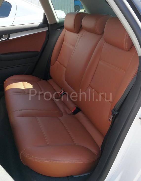 Чехлы на Audi A3 8P спорт салон с эффектом перетяжки салона из рыже-коричневой экокожи №2