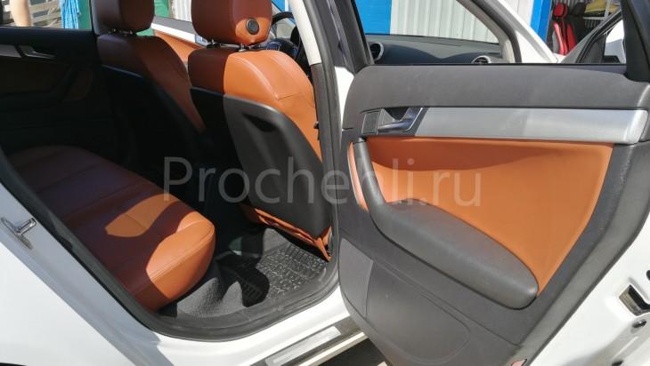 Вставки в карты дверей Audi A3 8P из рыже-коричневой экокожи №2