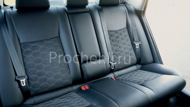 Каркасные авточехлы с эффектом перетяжки салона для Nissan Sentra из черной экокожи со вставками из алькантары №5