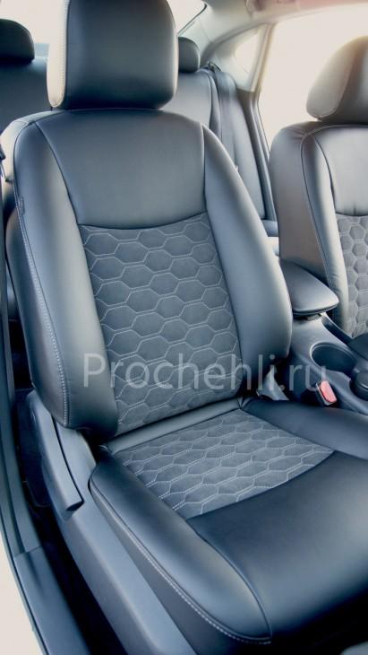 Каркасные авточехлы с эффектом перетяжки салона для Nissan Sentra из черной экокожи со вставками из алькантары №3