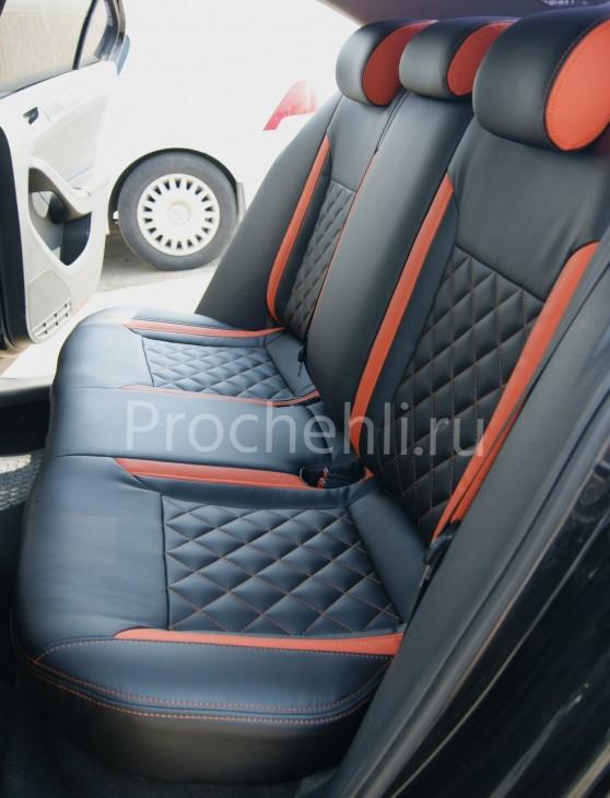 Каркасные чехлы с эффектом перетяжки на Volkswagen Jetta Trendline из черной и оранжевой экокожи №6