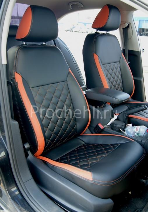 Каркасные чехлы с эффектом перетяжки на Volkswagen Jetta Trendline из черной и оранжевой экокожи №3
