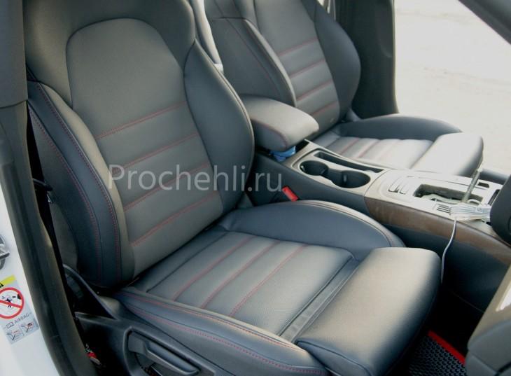 Каркасные чехлы для Audi A5 со спортсалоном с эффектом перетяжки из экокожи №2
