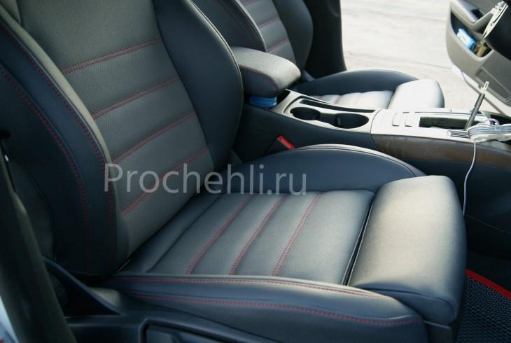 Каркасные чехлы для Audi A5 со спортсалоном с эффектом перетяжки из экокожи №6