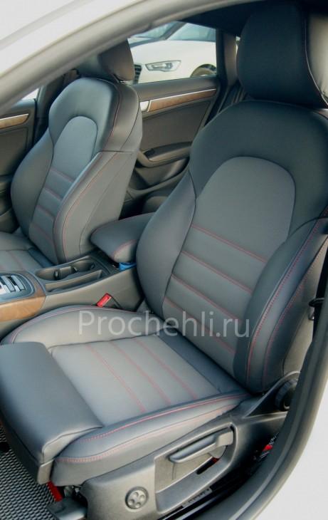 Каркасные чехлы для Audi A5 со спортсалоном с эффектом перетяжки из экокожи №8