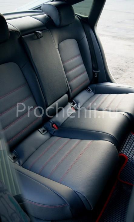 Каркасные чехлы для Audi A5 со спортсалоном с эффектом перетяжки из экокожи №11