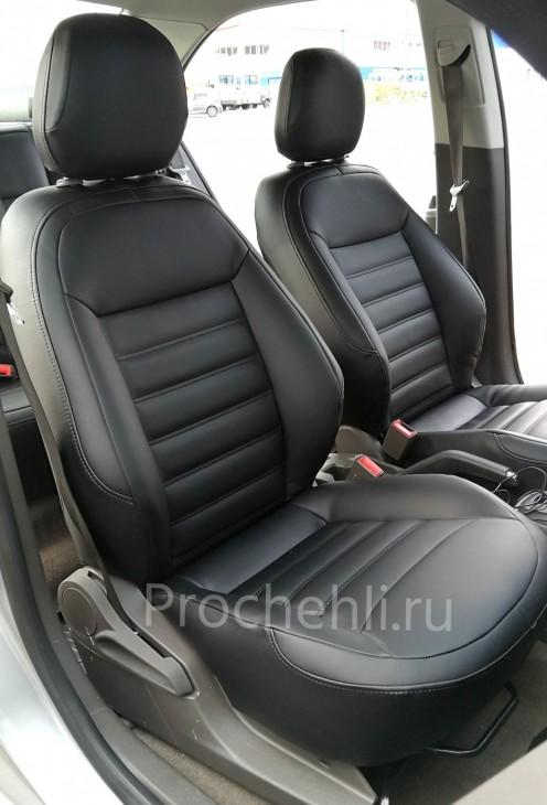 Чехлы на Chevrolet Cobalt c эффектом перетяжки из черной экокожи №1