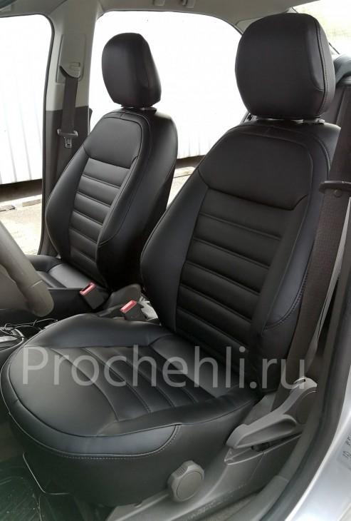 Чехлы на Chevrolet Cobalt c эффектом перетяжки из черной экокожи №2