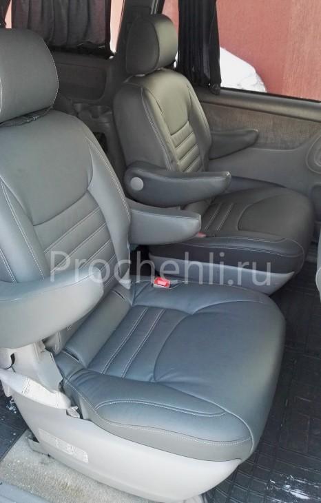 Каркасные чехлы для Toyota Sienna с эффектом перетяжки из экокожи №4
