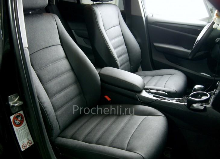 Каркасные авточехлы с эффектом перетяжки салона для BMW X1 (E84) из черной экокожи №2