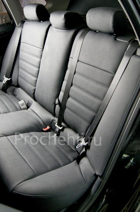 Каркасные авточехлы с эффектом перетяжки салона для BMW X1 (E84) из черной экокожи №6