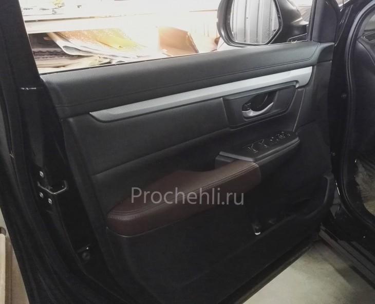 Вставки в карты дверей Honda CR-V 5 из коричневой экокожи