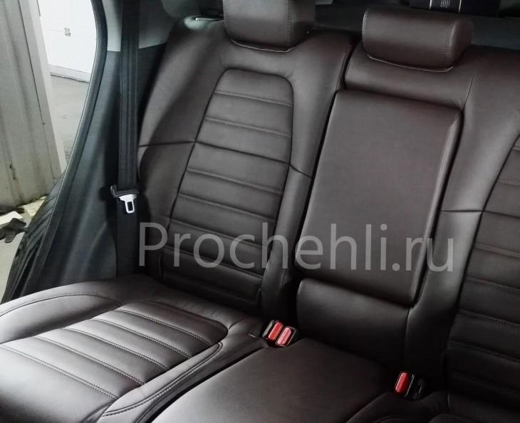 Каркасные авточехлы с эффектом перетяжки салона для Honda CR-V 5 из коричневой экокожи с двойной строчкой №6