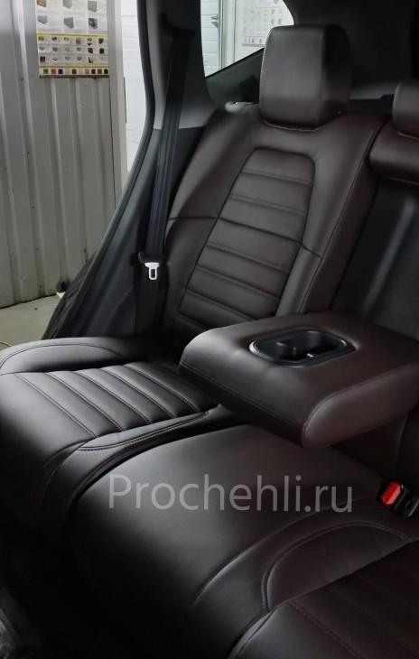 Каркасные авточехлы с эффектом перетяжки салона для Honda CR-V 5 из коричневой экокожи с двойной строчкой №5