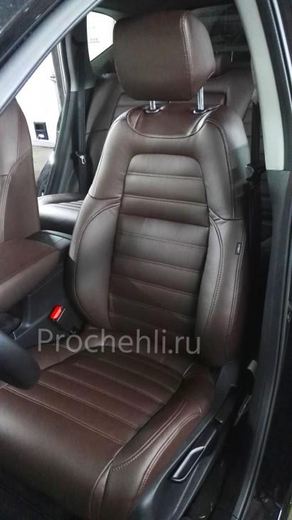 Каркасные авточехлы с эффектом перетяжки салона для Honda CR-V 5 из коричневой экокожи с двойной строчкой №3