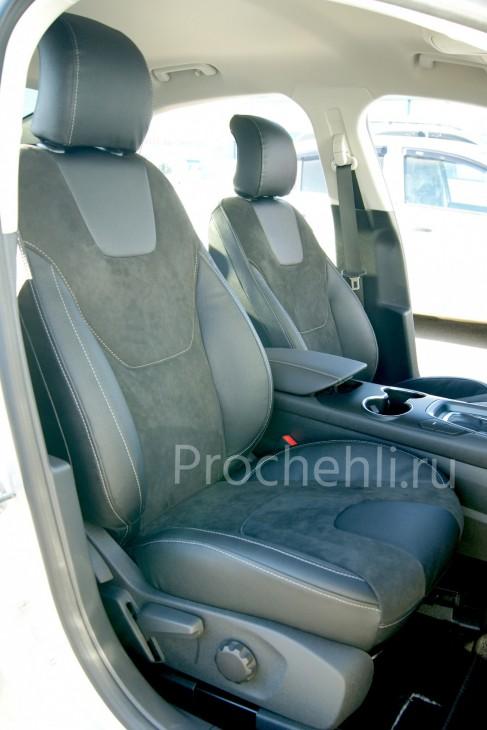 Каркасные авточехлы с эффектом перетяжки салона для Ford Mondeo 5 из экокожи Дакота и алькантары №3
