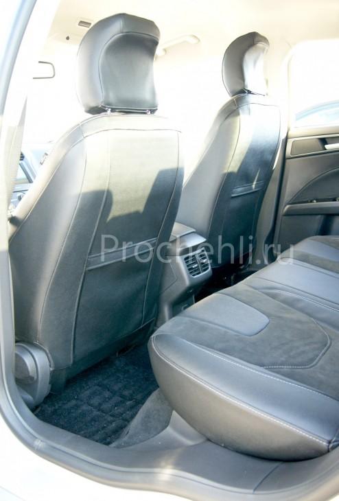 Каркасные авточехлы с эффектом перетяжки салона для Ford Mondeo 5 из экокожи Дакота и алькантары №7