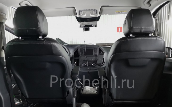 Каркасные авточехлы с эффектом перетяжки салона для Mercedes Vito/V-klasse (W447) из черной экокожи с отстрочкой ромбиком №1