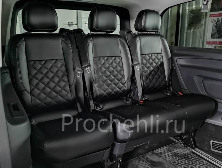 Каркасные авточехлы с эффектом перетяжки салона для Mercedes Vito/V-klasse (W447) из черной экокожи с отстрочкой ромбиком №2