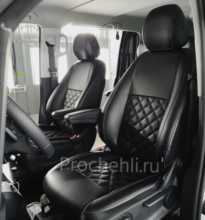 Каркасные авточехлы с эффектом перетяжки салона для Mercedes Vito/V-klasse (W447) из черной экокожи с отстрочкой ромбиком №3