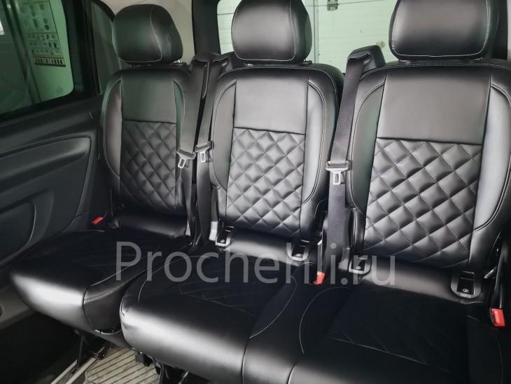 Каркасные авточехлы с эффектом перетяжки салона для Mercedes Vito/V-klasse (W447) из черной экокожи с отстрочкой ромбиком №7
