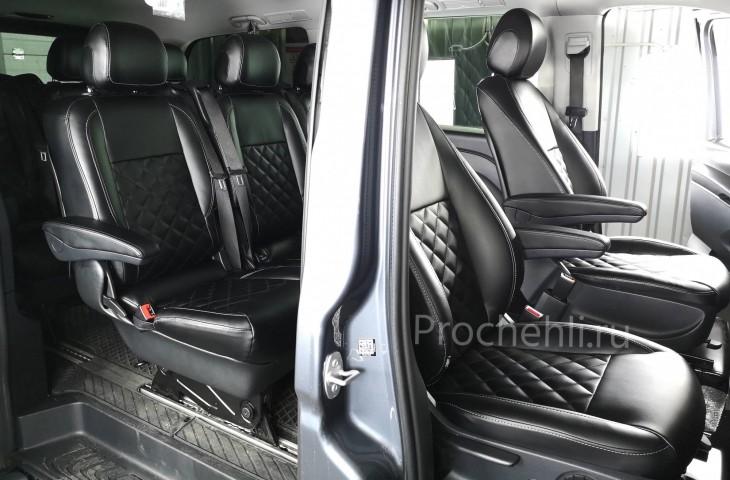 Каркасные авточехлы с эффектом перетяжки салона для Mercedes Vito/V-klasse (W447) из черной экокожи с отстрочкой ромбиком №8