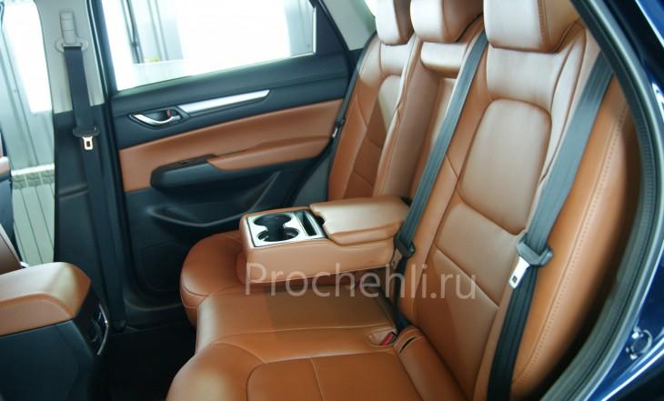 Каркасные авточехлы с эффектом перетяжки салона для Mazda CX-5 (2 поколение) из рыже-коричневой экокожи №2