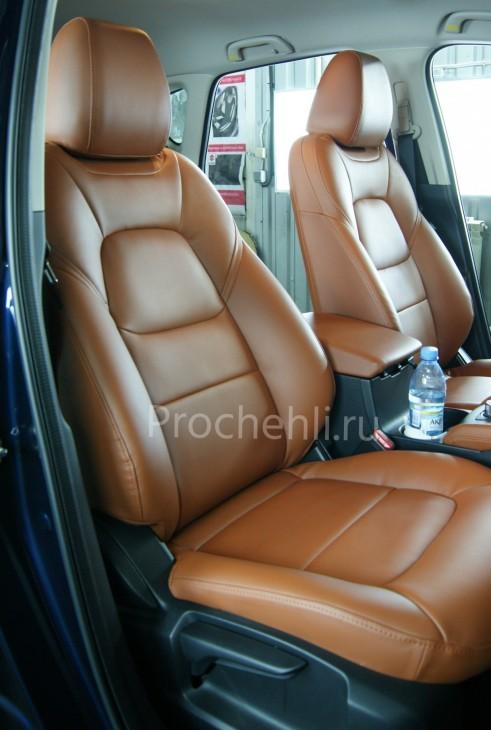 Каркасные авточехлы с эффектом перетяжки салона для Mazda CX-5 (2 поколение)  из рыже-коричневой экокожи №3