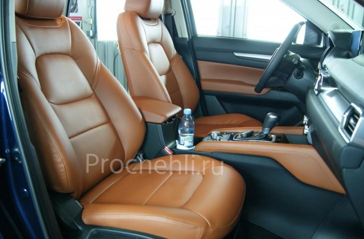 Каркасные авточехлы с эффектом перетяжки салона для Mazda CX-5 (2 поколение) из рыже-коричневой экокожи №5