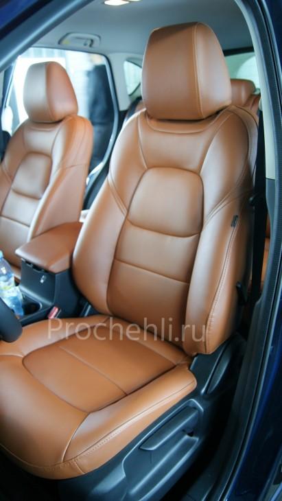 Каркасные авточехлы с эффектом перетяжки салона для Mazda CX-5 (2 поколение) из рыже-коричневой экокожи №7