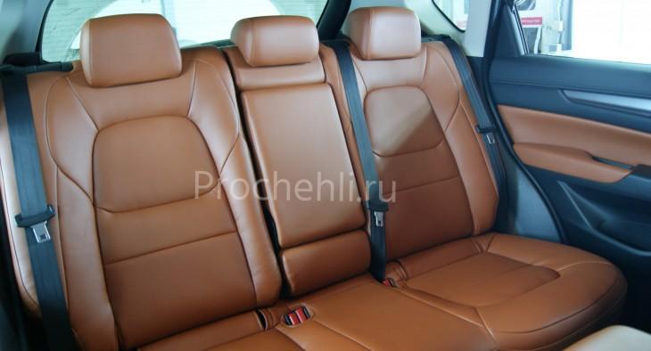 Каркасные авточехлы с эффектом перетяжки салона для Mazda CX-5 (2 поколение) из рыже-коричневой экокожи №9