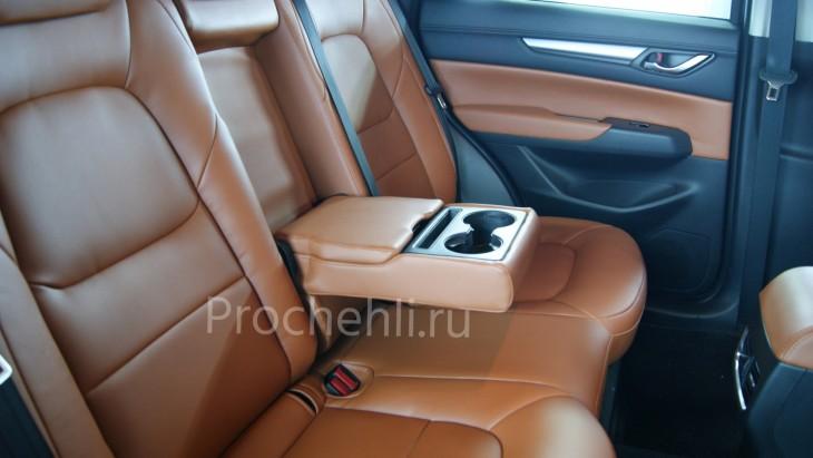 Каркасные авточехлы с эффектом перетяжки салона для Mazda CX-5 (2 поколение) из рыже-коричневой экокожи №10