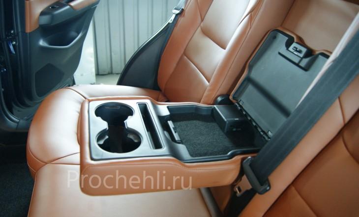 Каркасные авточехлы с эффектом перетяжки салона для Mazda CX-5 (2 поколение) из рыже-коричневой экокожи №12