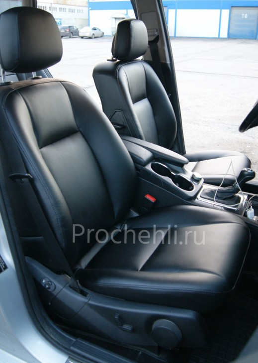 Каркасные чехлы для Mercedes-Benz GLK из черной экокожи №1