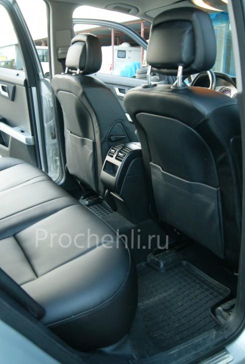 Каркасные чехлы для Mercedes-Benz GLK из черной экокожи №6