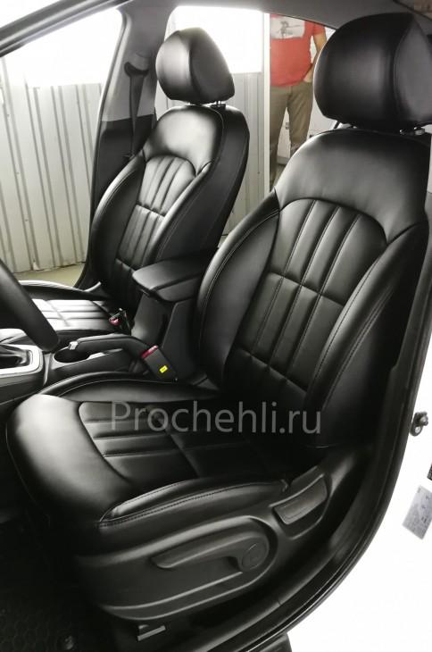 Каркасные чехлы на Hyundai Elantra 6 (AD) из черной экокожи №1